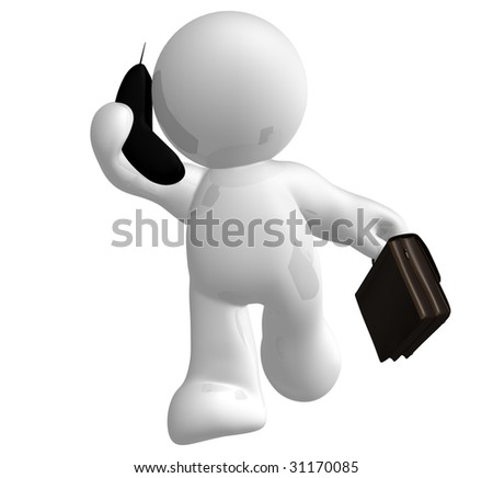 Businessman icon on the phone - stock photo