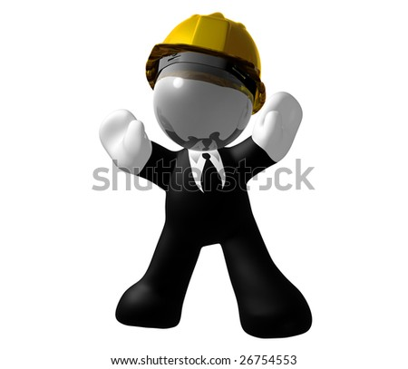 Businessman icon on under construction pose