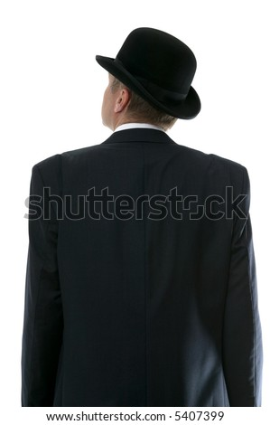 Businessman in a bowler hat looking up to the future. Rear view. - stock photo