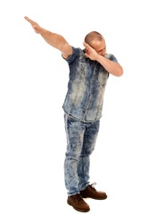 Businessman in a celebratory mood, dabbing isolated on white background