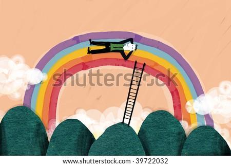 businessman in a rainbow