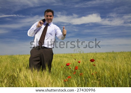 Businessman in a spring field