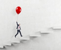 businessman in a suit flying happily holding a balloon over carrer ladder, white background, concept of success and career growth