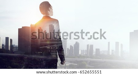 Businessman in big city