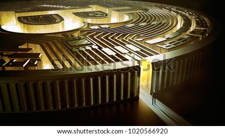 Businessman in bitcoin labyrinth. Cryptocurrency concept. Financial concept