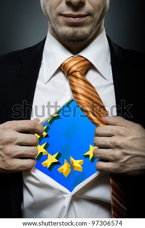 businessman  in black costume throw open one's shirt, concept european economic crisis