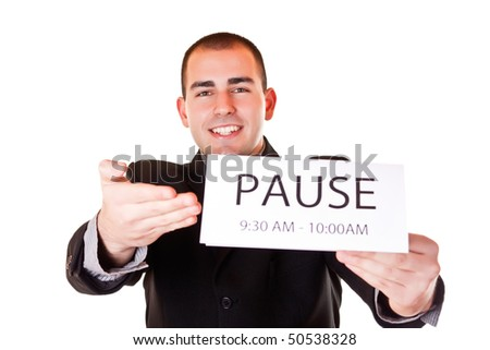 businessman in black suit is happy for pause