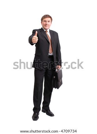 Businessman in black suit with suitcase stretching out hand showing thumb up sign over white background