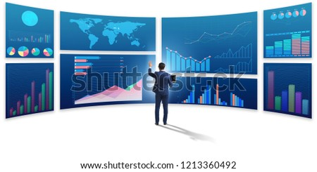 Businessman in business visualization and infographics concept #1213360492