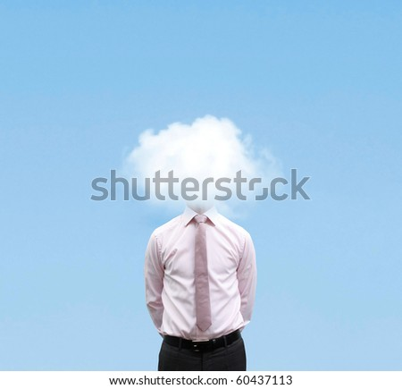 Businessman in cloud