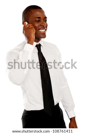 Businessman in conversation with his client through phone call. All on white background
