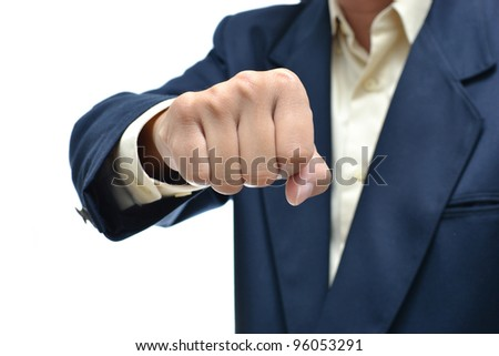 Businessman in dark blue suit with different hand concept with white background. - stock photo