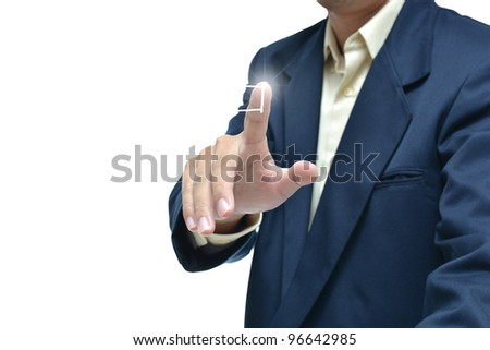 Businessman in dark blue suit with different hand concept with white background.