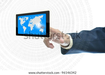 Businessman in dark blue suit with selection concept over white background.