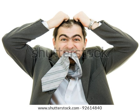 Businessman in distress on a white background.