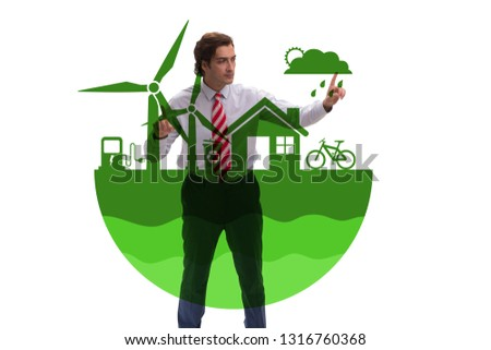 Businessman in ecological green concept #1316760368