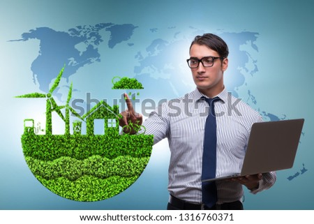 Businessman in ecological green concept #1316760371