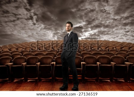 businessman in empty conference room