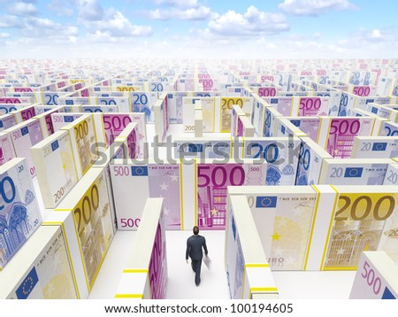 Businessman in Financial Maze Labyrinth made of euro banknotes. High resolution 3D rendering.