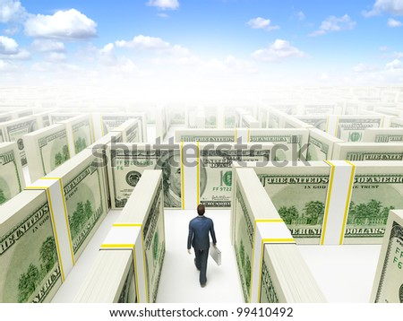 Businessman in Financial Maze Labyrinth made of 100 usd banknotes. High resolution 3D rendering.