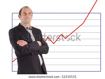 businessman in front of a rising graph chart