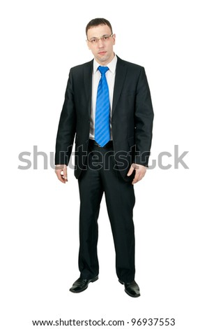 Businessman in full-length isolated on white background