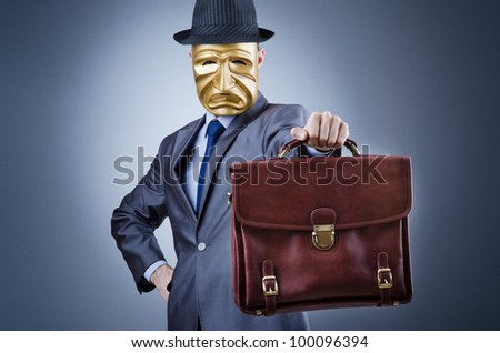 Businessman in industrial espionage concept - stock photo
