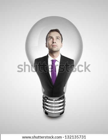 businessman in lamp on white background