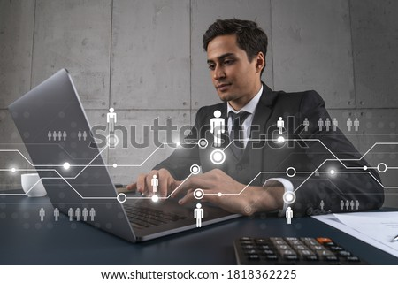 Businessman in office working with laptop, develop networking chain to push new social media project, typing computer. Double exposure. Foto stock ©