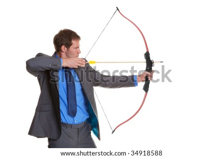 Businessman in pinstripe suit shooting a bow and arrow, isolated on a white background.