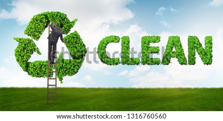 Businessman in recycling ecological concept #1316760560