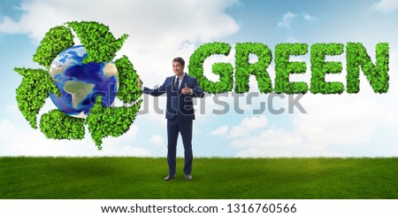 Businessman in recycling ecological concept #1316760566
