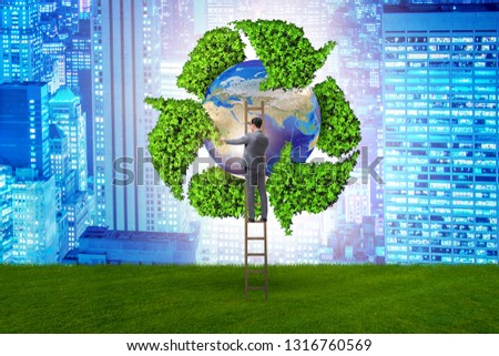 Businessman in recycling ecological concept #1316760569