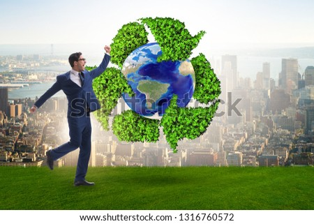 Businessman in recycling ecological concept #1316760572