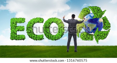 Businessman in recycling ecological concept #1316760575