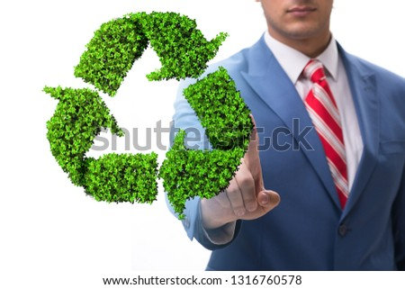 Businessman in recycling ecological concept #1316760578