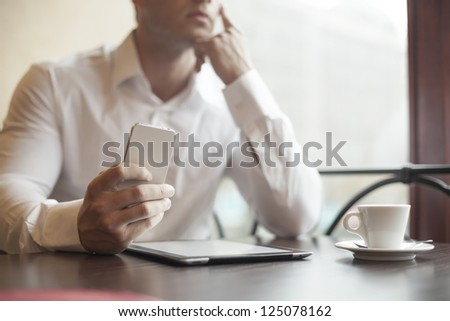 Businessman in restaurant - Beginning of working day