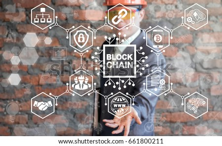 Businessman in safety helmet and glass offers blockchain microchip (circuit) icon on virtual screen. Blockchain Industrial Big Data Strategy Concept. Block Chain Industry 4.0 Technology. #661800211