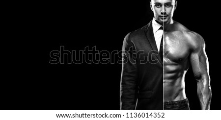 Businessman in suit and muscular young fitness sports man. Workout in fitness gym. Copy space for fitness nutrition ads.
