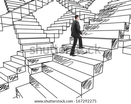 businessman in suit climbing on drawing stairs