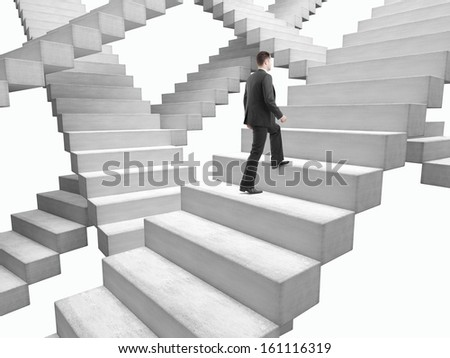 businessman in suit climbing stairs in bad weather