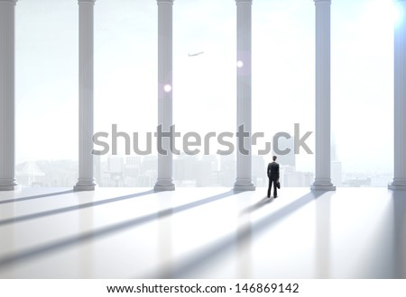 businessman in suit in the modern hall