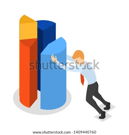 Businessman in suit pushing segment of big pie chart to the full circle diagram. Data analysis concept. Isolated  isometric illustration