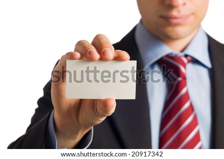 Businessman in suit showing his empty business card with copy space to write it one your own text