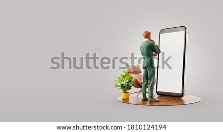 Businessman in suit standing in fron of smartphone and using smart phone application. Smartphone apps concept. Unusual 3d illustration