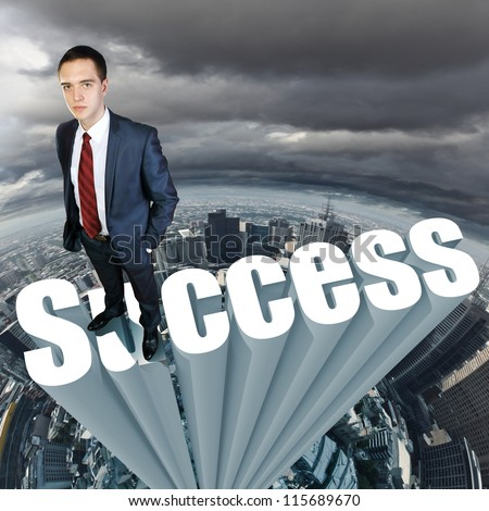Businessman in suit standing on the word Success - stock photo
