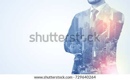 Businessman in suit standing thinking with metropolis graphic  #729640264