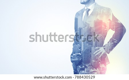 Businessman in suit standing thinking with metropolis graphic  #788430529