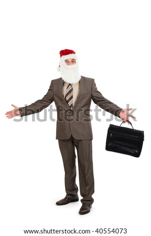 Businessman in suit with santa hat on head. Isolated over white background