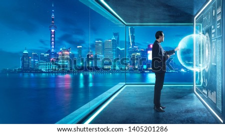Businessman in suit working with virtual 3d holographic interface screens . Futuristic business, technology, internet and social networking  technology concept . #1405201286